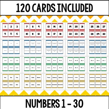 I Declare War! (Primary) Place value card game for numbers 1 - 30 in SPANISH!