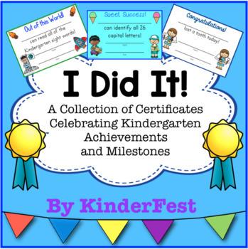 I Did It! Kindergarten Certificates