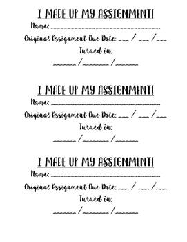 I Didn't Do My Homework! Form