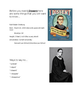 I Dissent 10 Questions and before you read - Ruth Bader Ginsburg