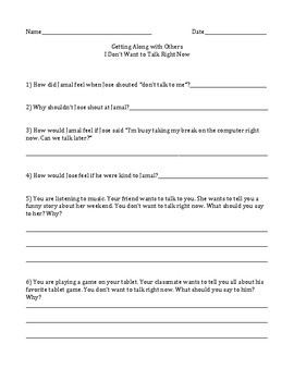 I Don't Want to Talk Right Now Social Story & Worksheet