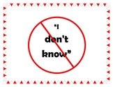 """""""I Don't Know"""" Anchor chart"""