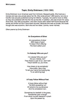 I Dwell in Possibility by Emily Dickinson - Lesson, Analysis, & Writing Activity