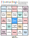 Exercise Bingo: A Game for Kids
