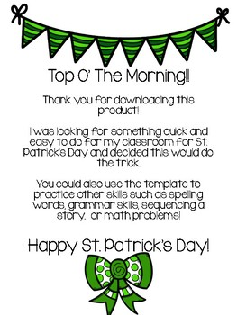 I Feel Lucky: St. Patrick's Day Writing Craftivity
