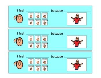 I Feel _____ because ______ - Autism VISUAL