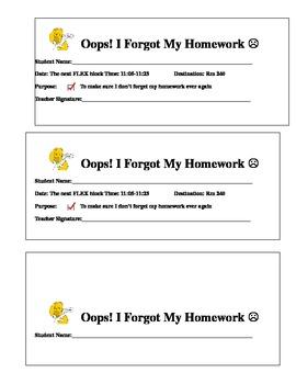 I Forgot My Homework Lunch Detention Passes