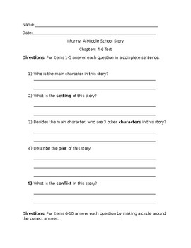 I Funny: A Middle School Story Ch. 4-6 Test