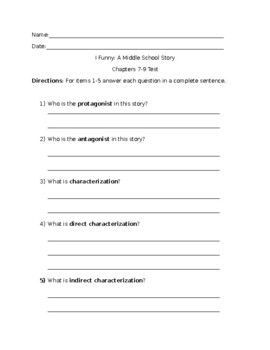 I Funny: A Middle School Story Ch. 7-9 Test