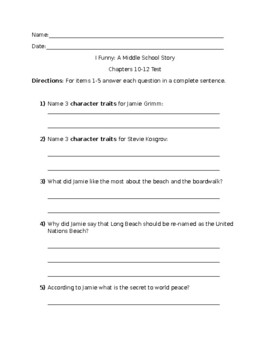 I Funny: A Middle School Story by James Patterson Ch. 10-12 Test