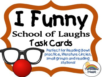I Funny Novel Book Task Cards Small Group Center Stations Game
