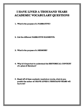 I HAVE LIVED A THOUSAND YEARS academic vocabulary questions