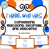 Converting Fractions, Decimals, and Percents Game - I Have, Who Has
