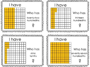 I HAVE WHO HAS:  Decimal Pictorial Representations CCSS 4.NF.C.6