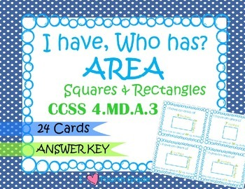 I HAVE WHO HAS: Finding Area