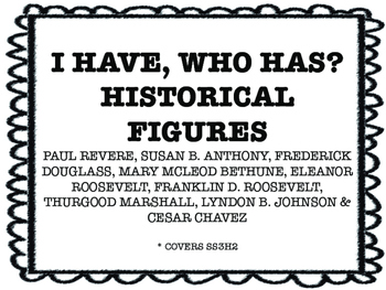 I HAVE, WHO HAS? HISTORICAL FIGURES SS3H2 Georgia Performance Standard aligned