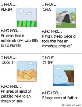 I HAVE, WHO HAS...Landforms and Waterforms Activity Cards