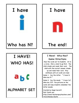 I HAVE, WHO HAS? Lowercase Alphabet Game