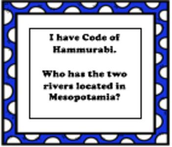 I HAVE...WHO HAS... Mesopotamia/Fertile Crescent Vocabulary Review