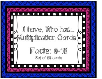 I HAVE, WHO HAS: Multiplication Facts Game