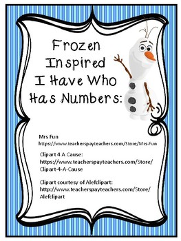 I HAVE WHO HAS NUMBER RECOGNITION 0-25 FROZEN INSPIRED