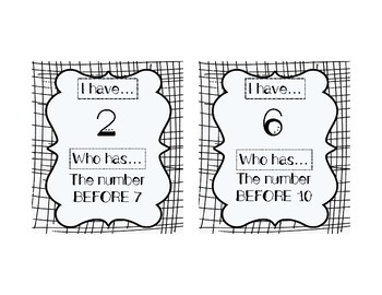 I HAVE, WHO HAS: NUMERALS 0-10 with BEFORE, AFTER, BETWEEN Vocab Practice