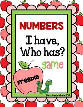 I HAVE WHO HAS: Numbers FREEBIE!