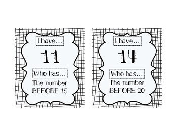 I HAVE, WHO HAS: Numerals 11-20 with BEFORE, AFTER, BETWEEN Vocab Practice
