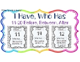 I HAVE, WHO HAS: Numerals 11-20 with BEFORE, AFTER, BETWEE