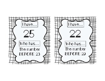 I HAVE, WHO HAS: Numerals 21-30 with BEFORE, AFTER, BETWEEN Vocab Practice