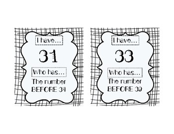 I HAVE, WHO HAS: Numerals 31-40 with BEFORE, AFTER, BETWEEN Vocab Practice