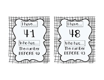 I HAVE, WHO HAS: Numerals 41-50 with BEFORE, AFTER, BETWEEN Vocab Practice