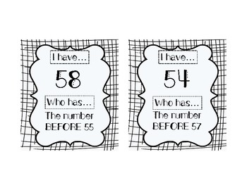 I HAVE, WHO HAS: Numerals 51-60 with BEFORE, AFTER, BETWEEN Vocab Practice