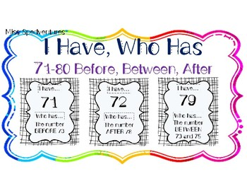I HAVE, WHO HAS: Numerals 71-80 with BEFORE, AFTER, BETWEEN Vocab Practice