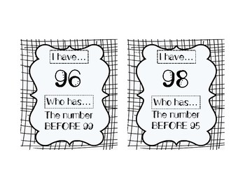 I HAVE, WHO HAS: Numerals 91-100 with BEFORE, AFTER, BETWEEN Vocab Practice