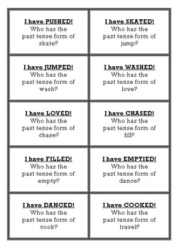 I HAVE WHO HAS - Past Tense Regular Verbs