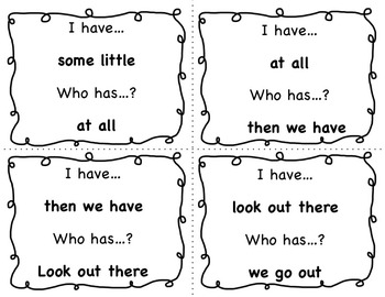 Dolch Sight Words Phrases (Lists 1-4) I HAVE...WHO HAS?