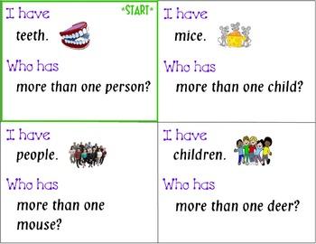 "I HAVE…WHO HAS?  (Wrap-Around game) ""Irregular Plural Nouns"" & Follow Up sheet"