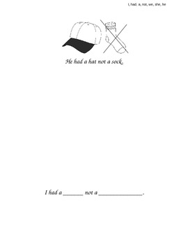 """""""I, Had, A, Not, We, She, He"""" Sight Word Book"""