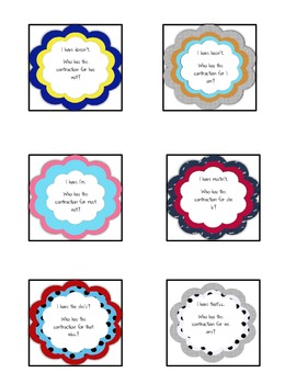 I Have, Who Has: Contraction Style! {Freebie}