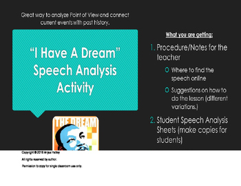 Martin Luther King Jr I Have A Dream Speech Activity Tpt