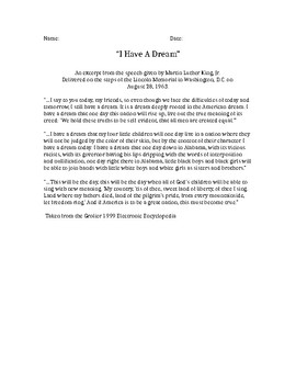 I Have A Dream Speech Close Reading Activity