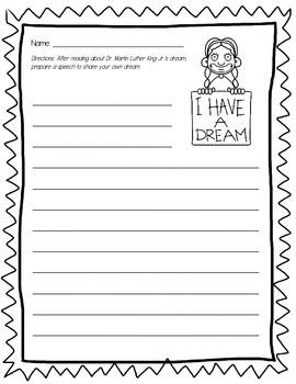 I Have A Dream - Writing Paper - FREEBIE