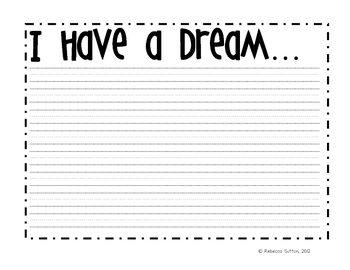 I Have A Dream Writing Paper-freebie