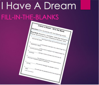 I Have A Dream by Martin Luther King Fill-In the Blank