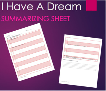 FREE- I Have A Dream by Martin Luther King Sentence Summary Worksheet