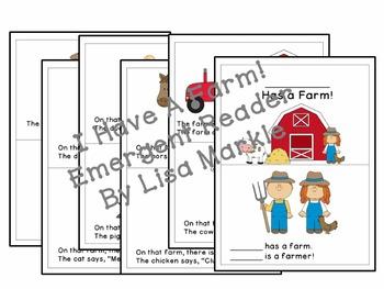 Farm Animals Emergent Reader for Preschool and Kindergarten