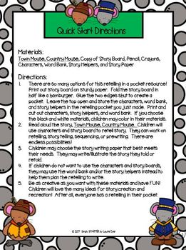 I Have A Retelling In My Pocket:  TOWN MOUSE, COUNTRY MOUSE Retelling Activity