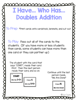 """""""I Have..."""" Doubles Addition Game"""