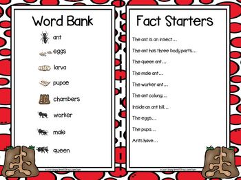 I Have Facts In My Pocket:  LOW PREP Ants Themed Fact Sharing Activities